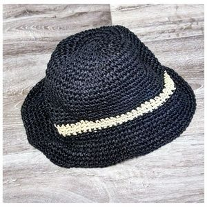 Mossimo Black Woven Floppy Paper Hat with Stripe